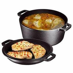 Heavy Duty 2 In 1 Cast Iron Double Dutch Oven and Domed Skil