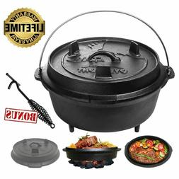 HIGH 2 in 1 Cast Iron Dutch Oven Lid Skillet Camping Cooking