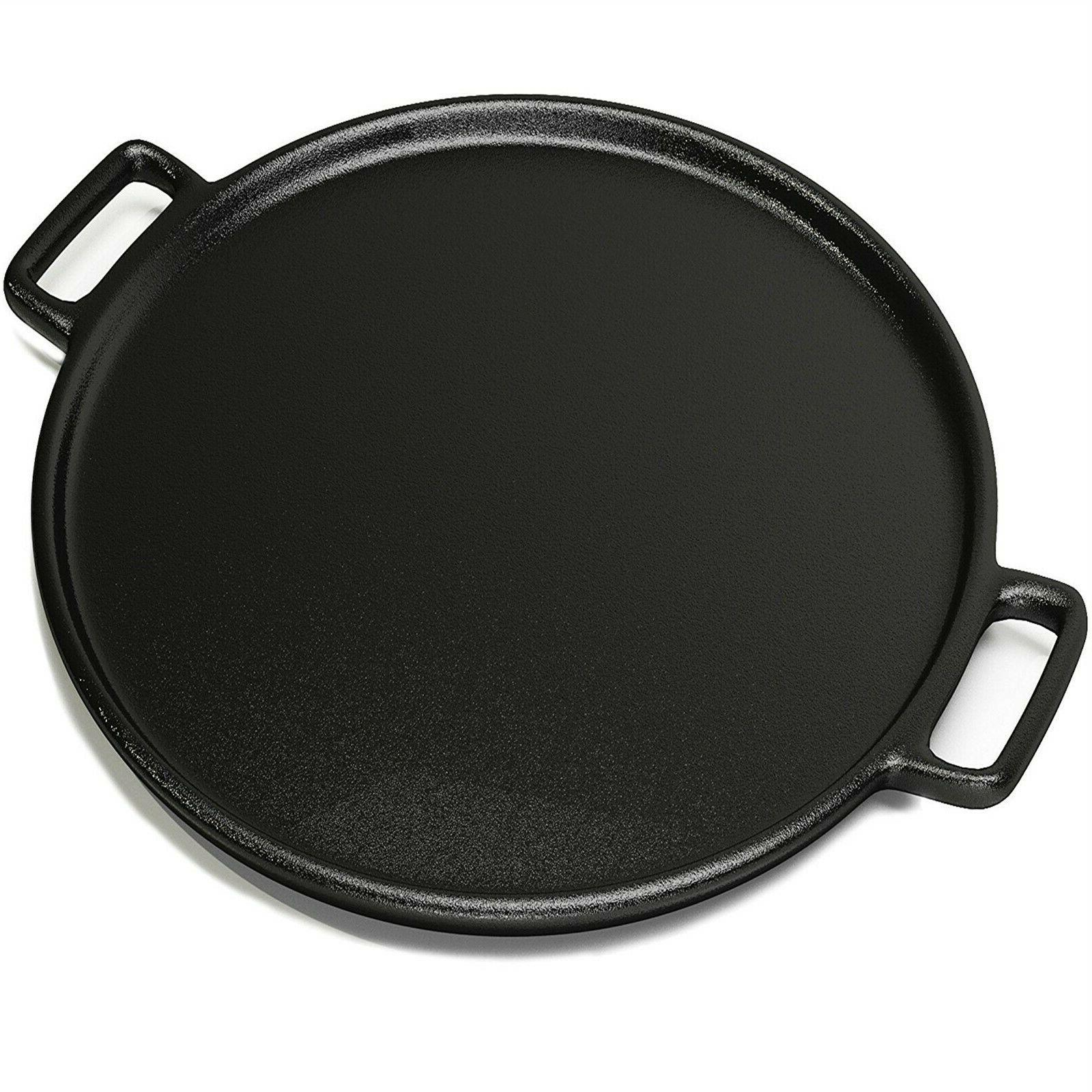 14 inch cast iron pizza pan skillet