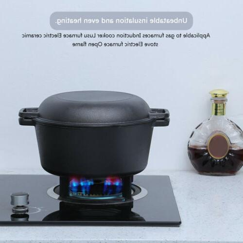 5-Quart Cast Double Oven Skillet 2 in 1 Cookware