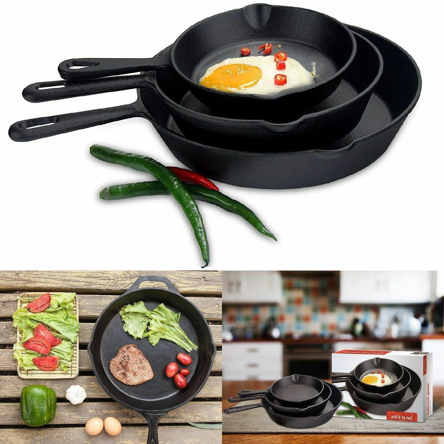 3 CAST IRON 10 Inch Oven Fry Set