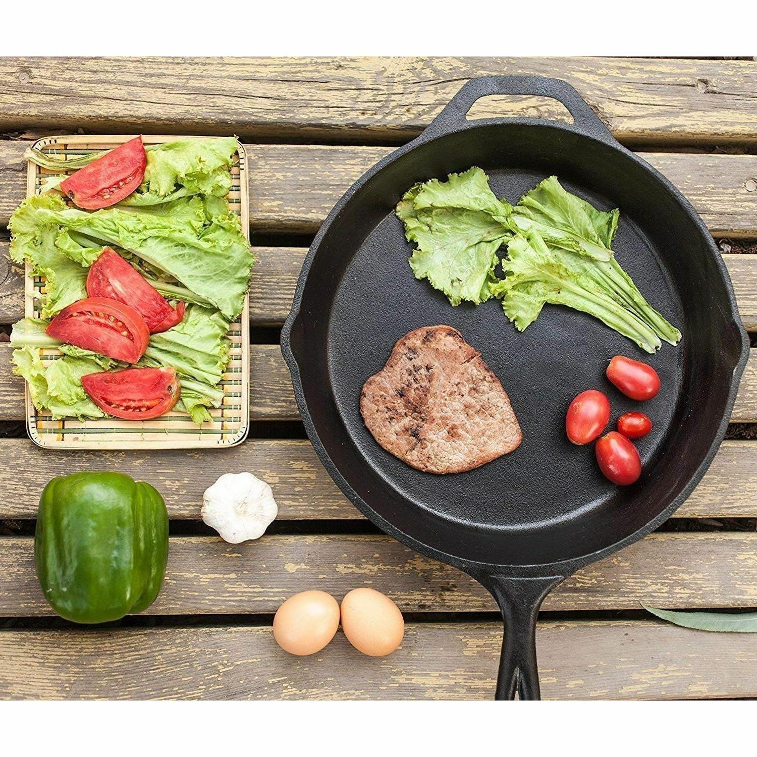 3 IRON SKILLET Pre 6 8 10 Inch Stove Fry Pans Cookware