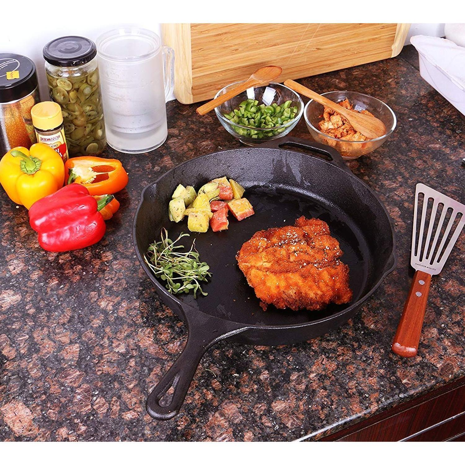 3 CAST IRON Pre Seasoned 12 Inch Stove Fry Pans