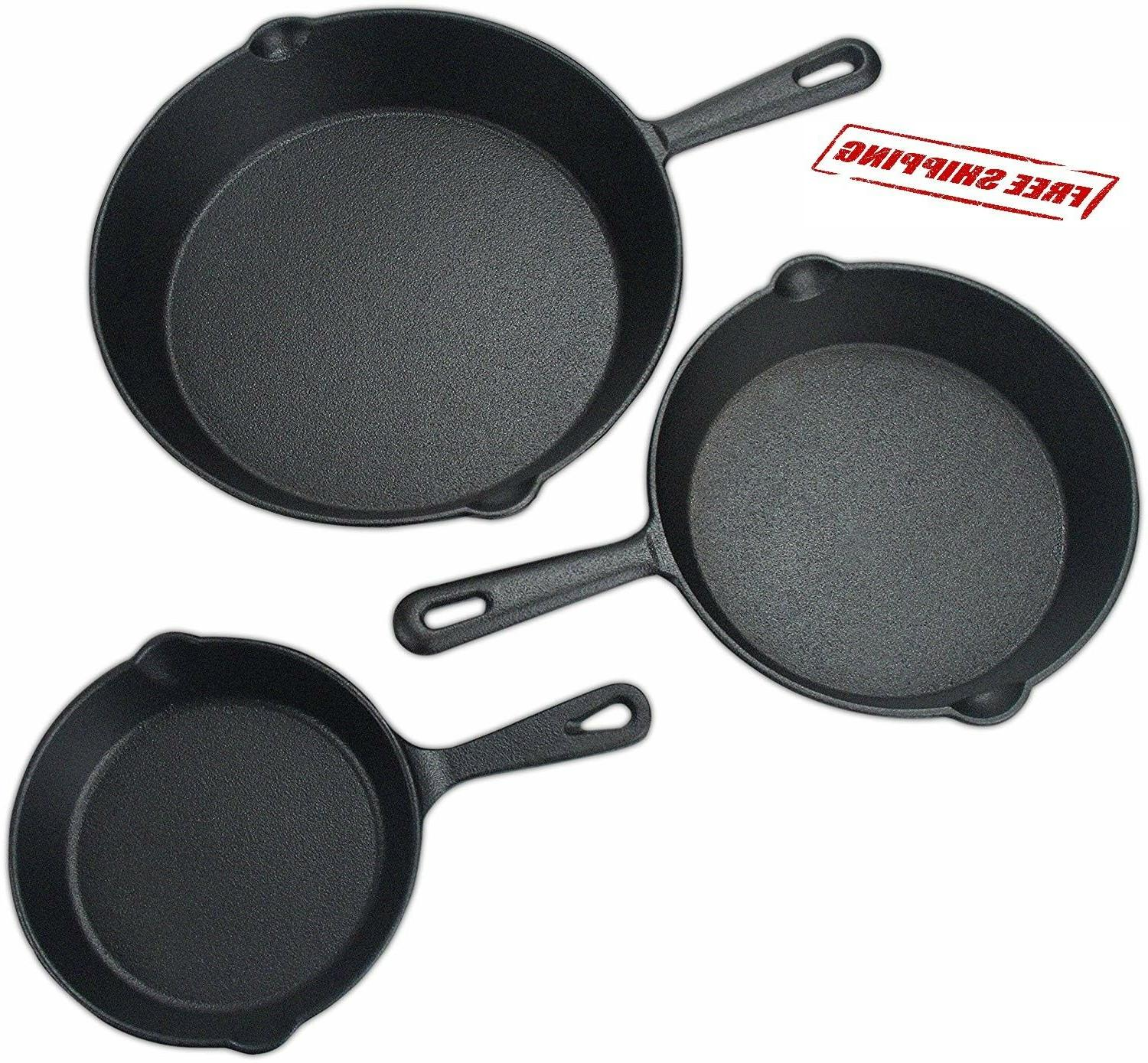 3 pcs set pre seasoned cast iron