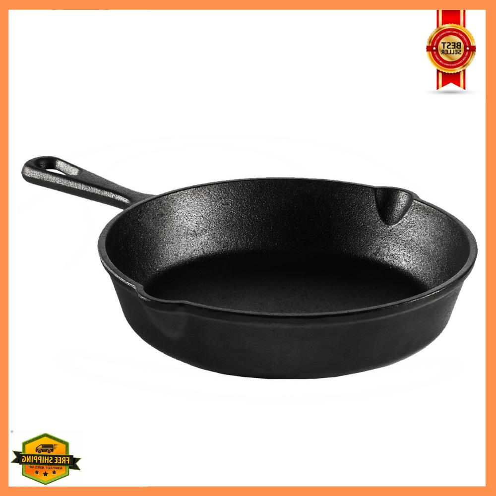"""8"""" Cast Iron Skillet With Handle And Lips Pre-Seasoned Campi"""