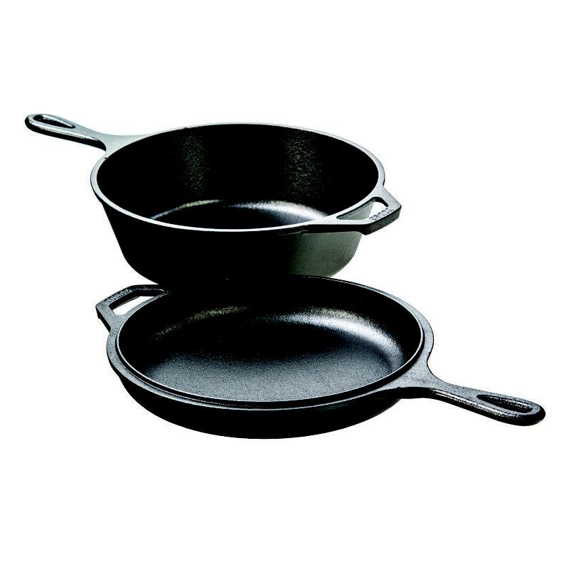 Lodge Iron Combo Pre-seasoned Cast Fryer, Dutch and Convertible Skillet/Griddle