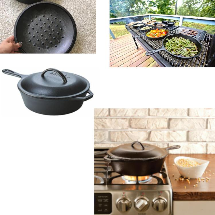 Cast Iron Deep Skillet With Lid Frying Bread Baking Cook Pan