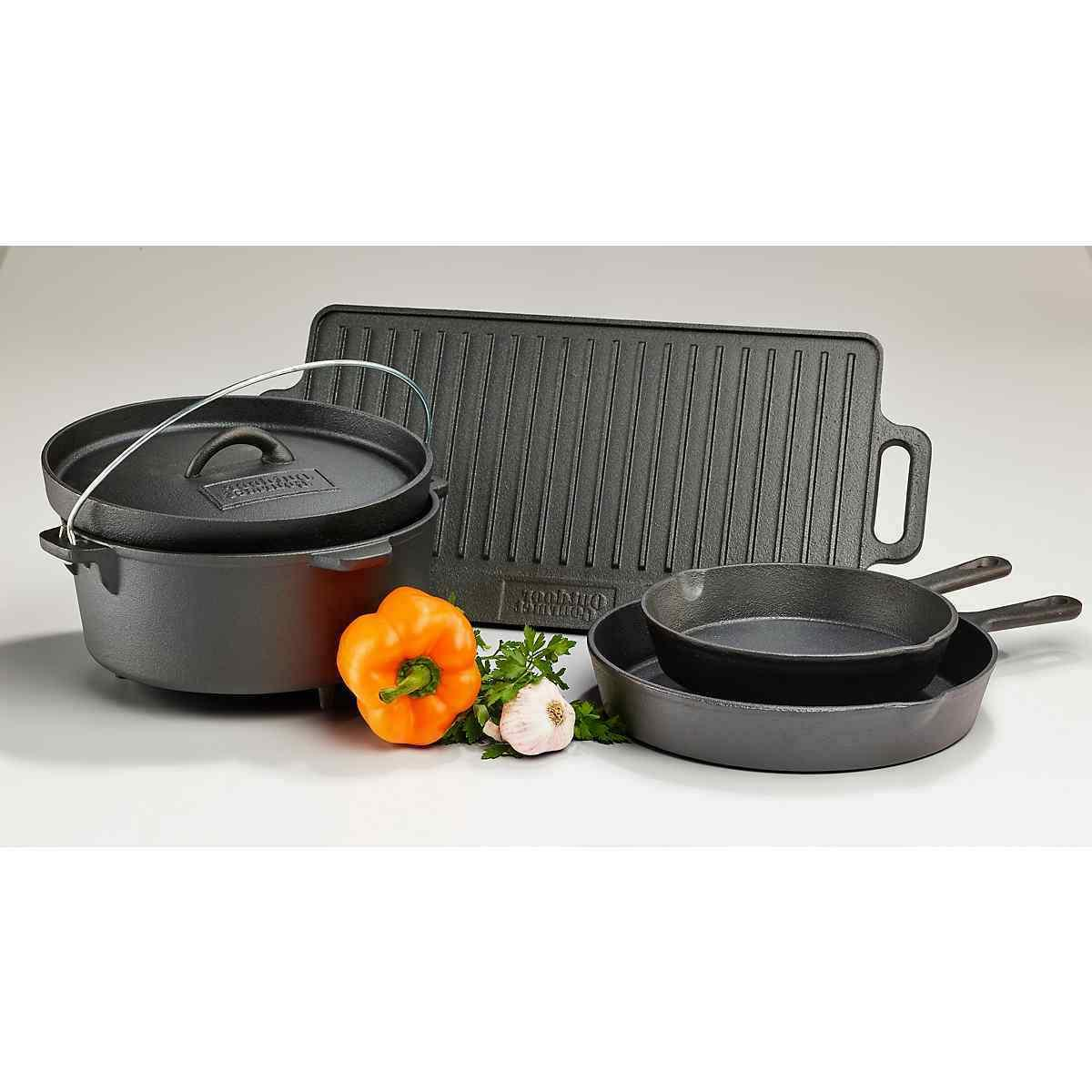 Cast Griddle Oven Pan Lid Frying Cookware Set Fry Cooking