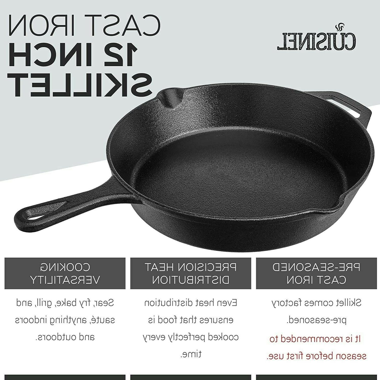 Cast Skillet Inch Frying Oven Cooking Seasoned Cookware