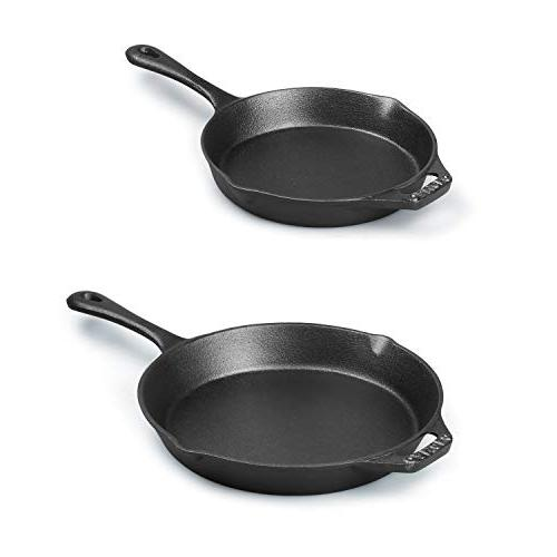 Cast Skillet, Pre-Seasoned Cookware - 2 Best Heavy Chef Quality Tools Indoor