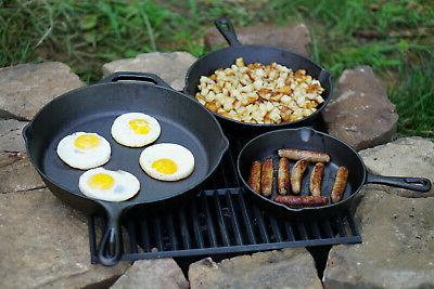 3 IRON SKILLET Pre 12 Inch Oven Fry Pans Set