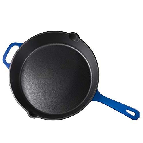 Enameled Cast Iron Deep Sauté with Lid, Duke Blue,