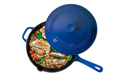 Enameled Cast Skillet Deep Sauté Lid, Blue, Retention