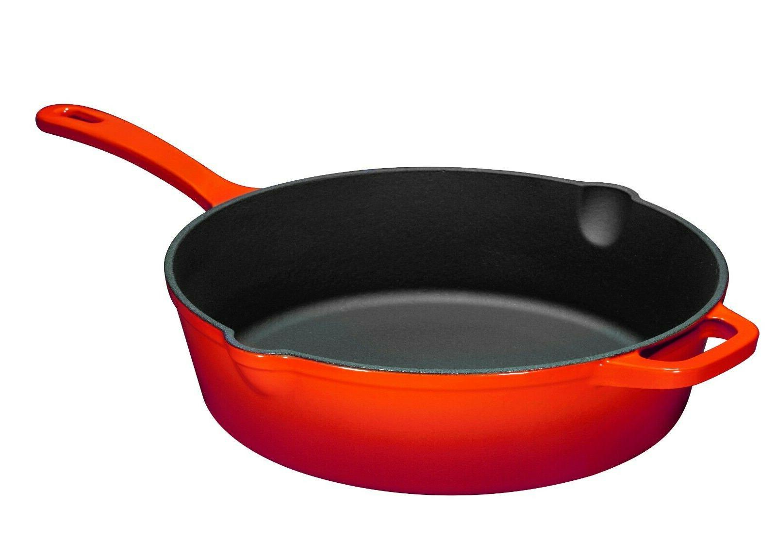 Enameled Iron Deep Lid, Red