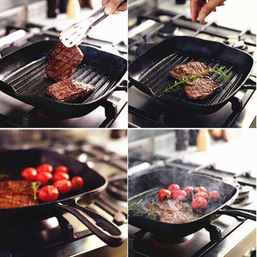 """10"""" In Cast Iron Griddle Skillet Non Stick Square Grill BBQ Cookware"""