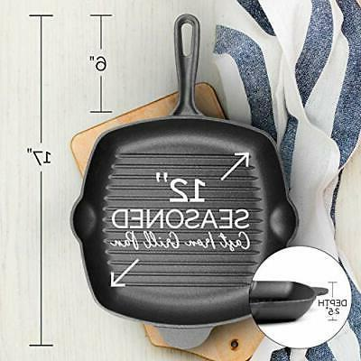 Pre-Seasoned Iron Grill Skillet 11 Stove and Oven