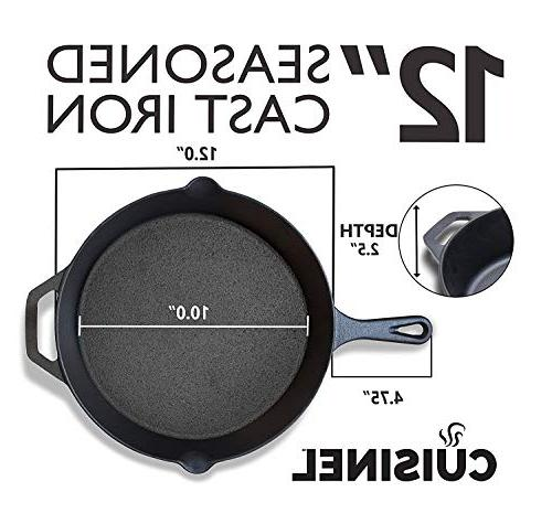 cuisinel Cast Iron w/Handle Cover Oven Cookware Heat-Resistant Holder and Outdoor | Grill, Stovetop, New