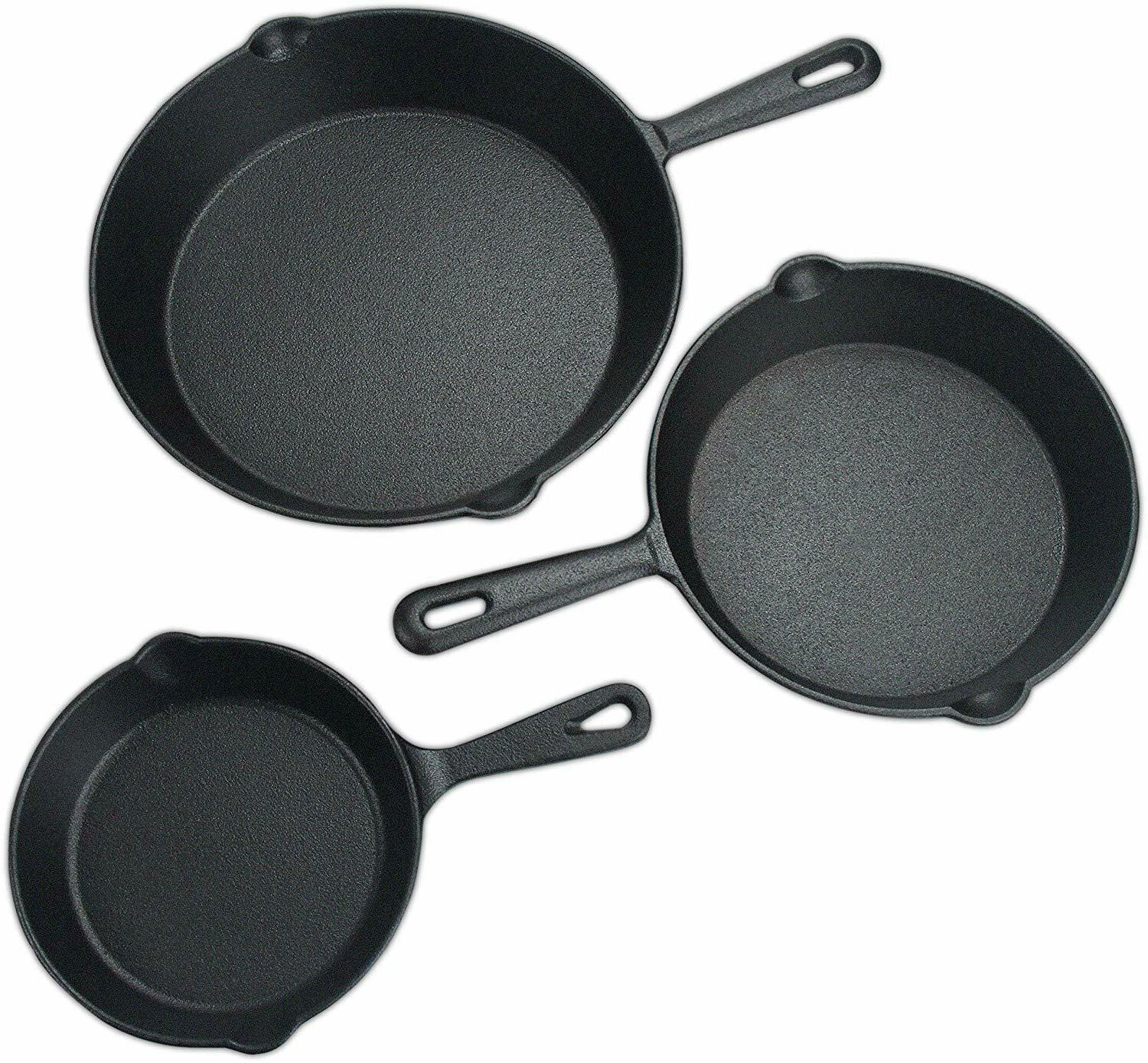 Pre Seasoned Cast Iron Skillet Set 3 Pieces  by Utopia KItch