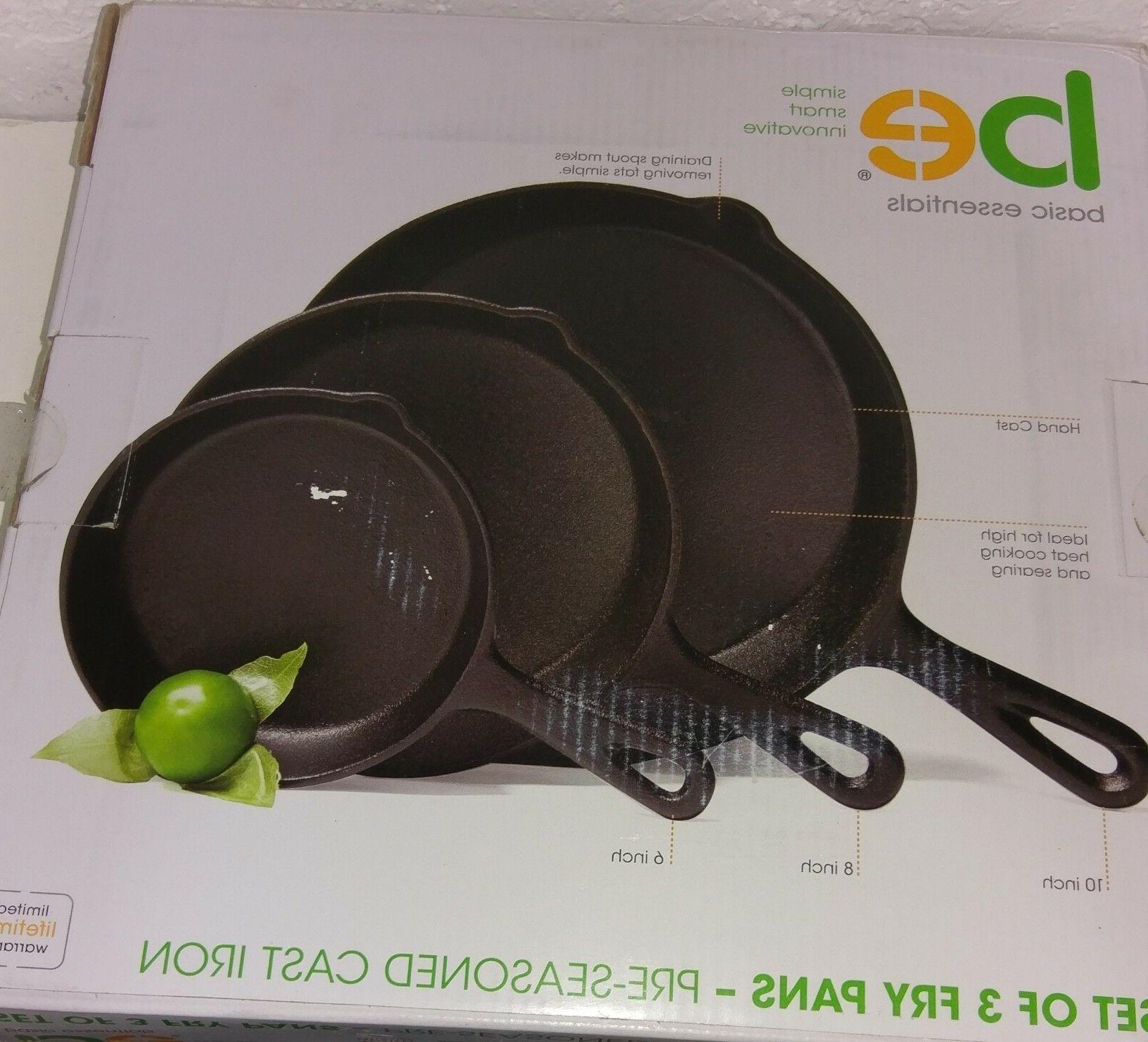 pre seasoned cast iron skillet set of