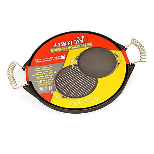 Victoria Reversible Round Griddle Cool-Touch NON-GMO Flaxseed Oil GDL-156, 12.5 inch