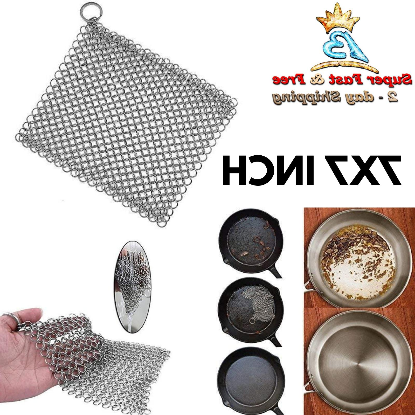 Ringer Stainless Steel Chainmail Scrubber Cast Iron Skillet
