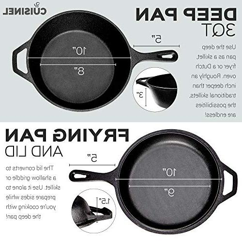 Pre-Seasoned Multi Cooker | Dutch Lid Cookware | Dutch Oven Pan | Indoor Outdoor | Stovetop, Induction Safe