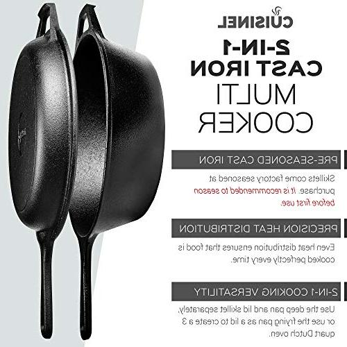 Pre-Seasoned Iron Multi 3-Quart Dutch Lid Set Safe Cookware Dutch Oven and Pan Outdoor Use | Stovetop,