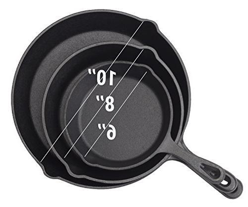 Cast Skillet Pan Set of Pre-seasoned 6, 8, 10 Inch for Broiling | Oven-safe, On Electric, Cooktop Gift Idea