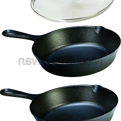 seasoned cast iron skillet with tempered glass