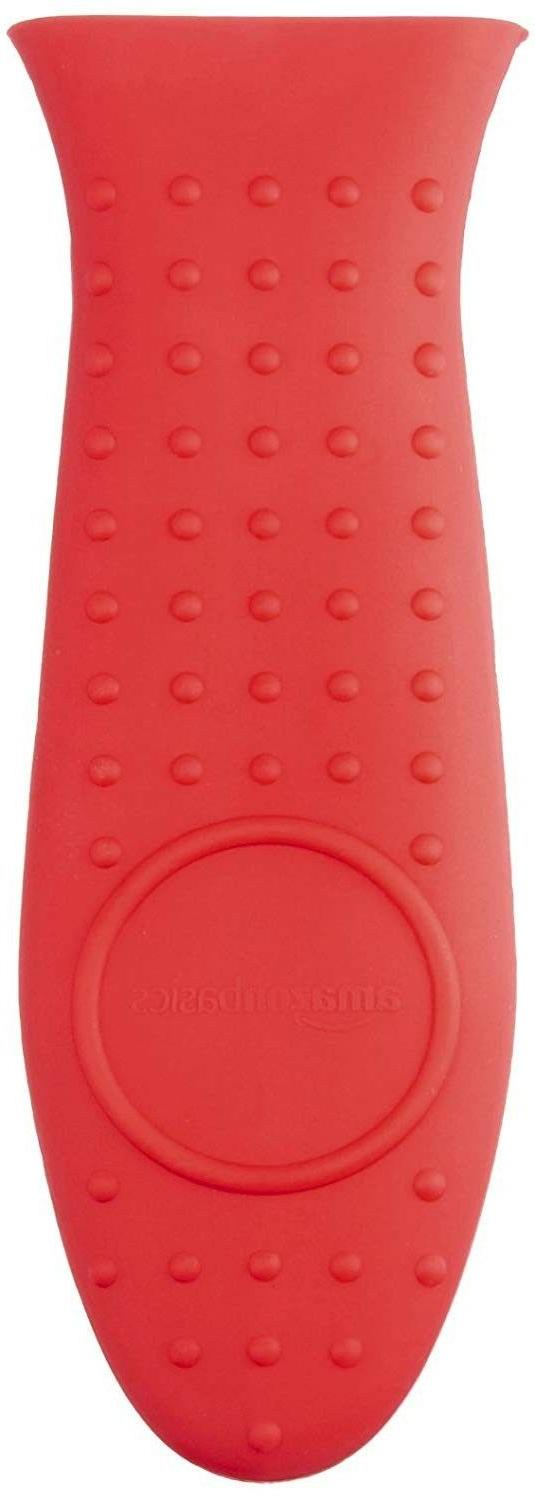 AmazonBasics Silicone Hot Handle Cover/Holder - Red
