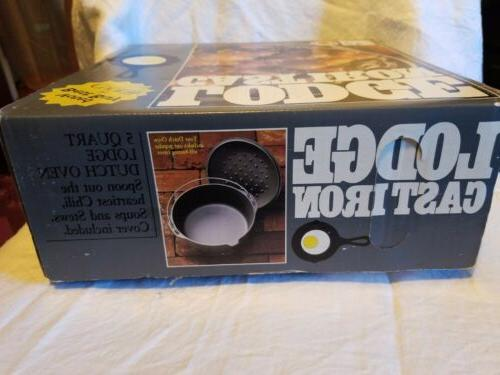 VINTAGE 5 Cast Iron Dutch Skillet with Basting Lid NEW