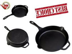 Large Cast Iron Skillet Deep Frying Fry Pan Big For Eggs Ove