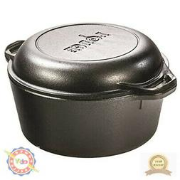 Lodge Logic Cast Iron 5 Quart Double Dutch Oven