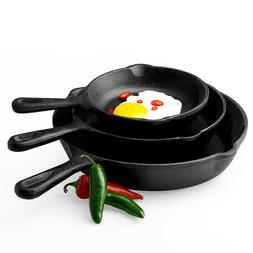 New Pre-Seasoned Cast Iron 3 PIECE FRY PANS SKILLET SET STOV