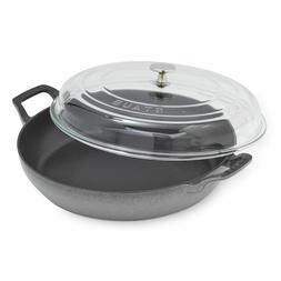 New Staub Double-Handled Enamel Cast-Iron Skillet fry pan wi
