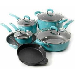 10-Piece Non-Stick Pre-Seasoned Cookware Set Red The Pioneer