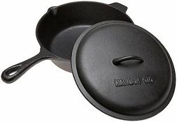 OLD MOUNTAIN CAST IRON 3 QT.DEEP FRY SKILLET W/ LID