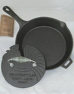 OLD MOUNTAIN CAST IRON PRE-SEASONED SKILLET AND ROOSTER GRIL