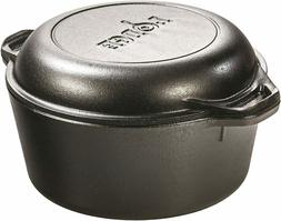 Cast Iron 5 Qt Double Dutch Oven Pot Casserole Skillet Induc
