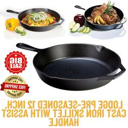Lodge Pre-Seasoned 12 Inch.Cast Iron Skillet with Assist Han