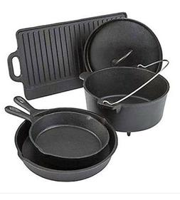 Pre Seasoned 5 Piece Cookware Set Cast Iron Dutch Skillets P