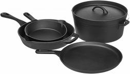 AmazonBasics Pre-Seasoned Cast Iron 5-Piece Cookware Set