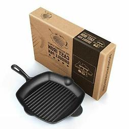 Pre-Seasoned Cast Iron Grill Skillet Pan 12 Inch 11 Inches S