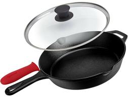 Pre-Seasoned Cast Iron Skillet  with Glass Lid and Handle Co