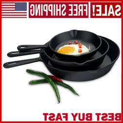 Pre-Seasoned Cast Iron Skillet 3 Pack Set Stove Oven Fry Pan