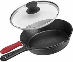 Pre-Seasoned Cast Iron Skillet  W/Glass Lid and Handle Cover