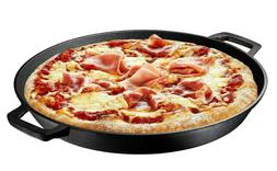 16 Inch Pre Seasoned Cast Iron Deep Pizza Pan Skillet Dual H