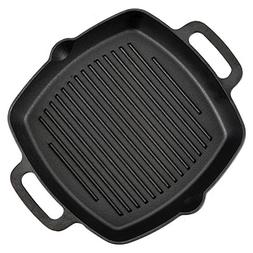 Pre-Seasoned Cast Iron Skillet Fry Pan Square Griddle with R