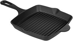 AmazonBasics Pre-Seasoned Cast Iron Square Grill Pan - 10.25