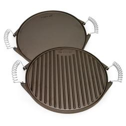 Victoria Reversible Cast Iron Round Griddle with Removable C